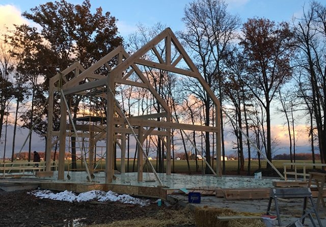 Timber Frame Raising in Archbold, OH