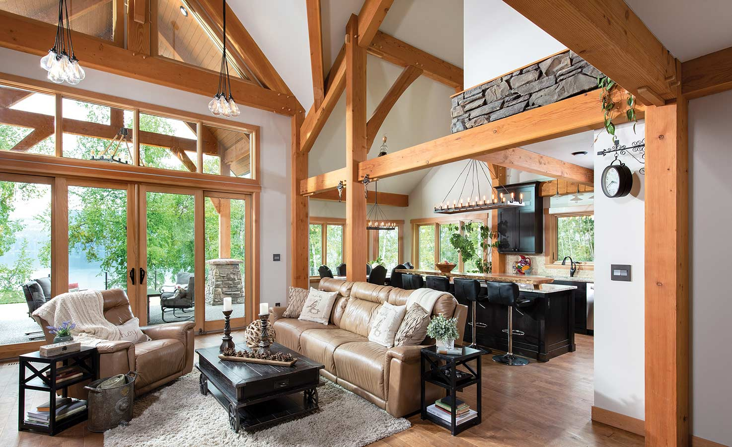 Timber Frame Great Room Photos | by Riverbend