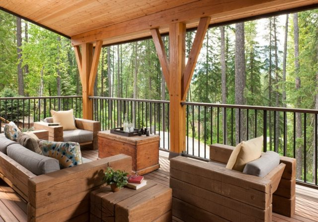 timber frame deck, riverbend