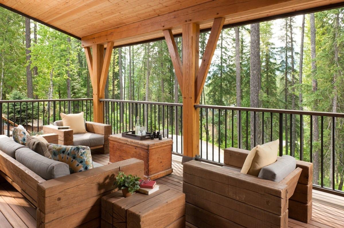 timber frame deck, riverbend