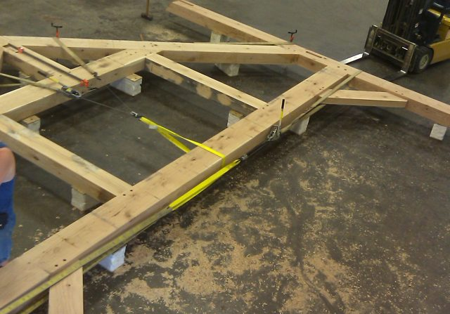 timber frame system in the riverbend shop