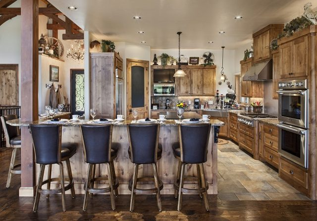 breakfast bar in timber frame home