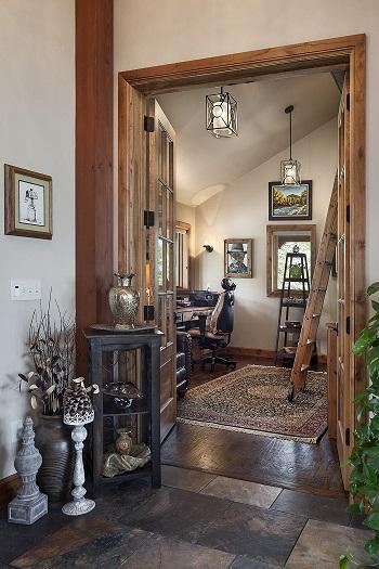 study inside a timber frame home