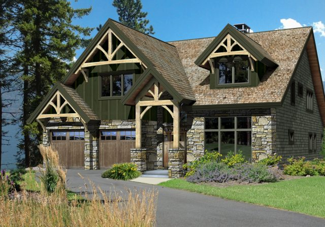 mountain style home design concept rendering