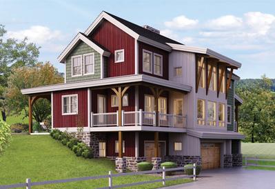 Ellington bank barn home plan