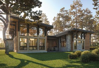 Wright modern timber home plan
