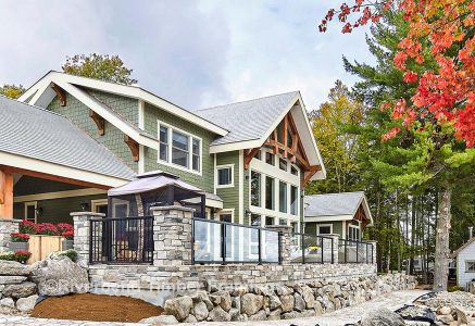 Timber frame lake home